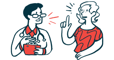 swallowing difficulties | Myasthenia Gravis News | diagnostic test FTT | illustration of doctor talking to patient