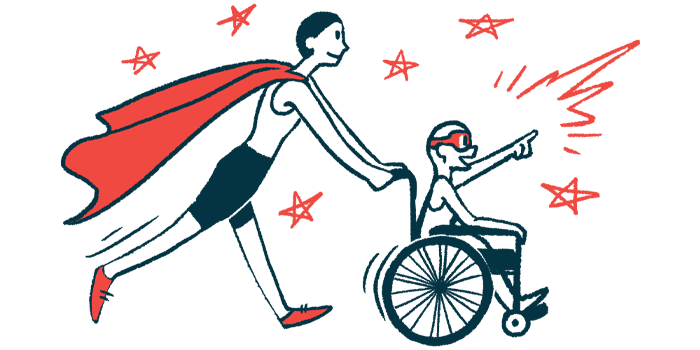 rare disease clinical trial participants | Myasthenia Gravis News | Illustration of woman in cape pushing child in wheelchair